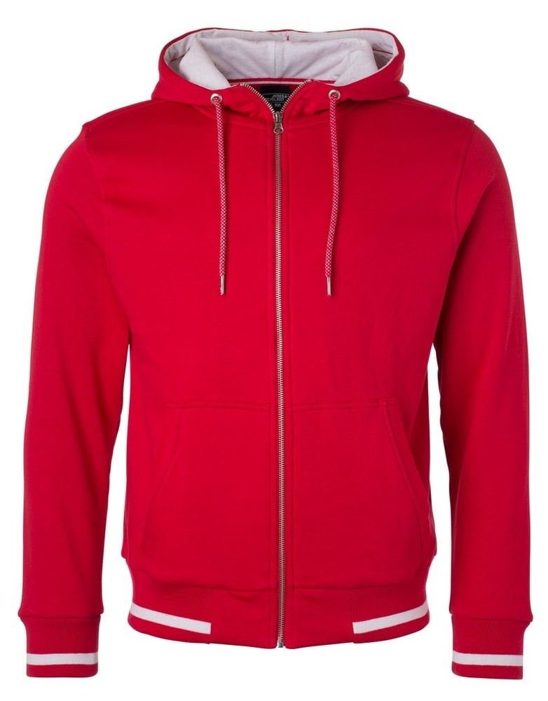 Pánská mikina na zip s kapucí Club JN776 - Červená / bílá   S