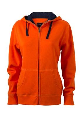 Dámská mikina na zip s kapucí JN962 - Tmavě oranžová / tmavě modrá   XXL