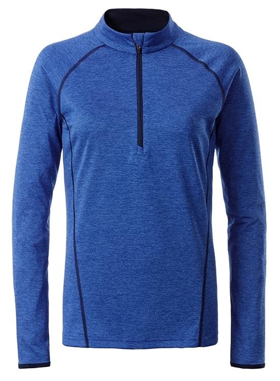 Dámské funkční tričko s dlouhým rukávem JN497 - Modrý melír / tmavě modrá | M