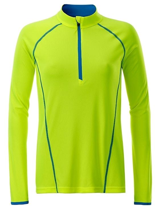 Dámské funkční tričko s dlouhým rukávem JN497 - Jasně žlutá / jasně modrá | XXL