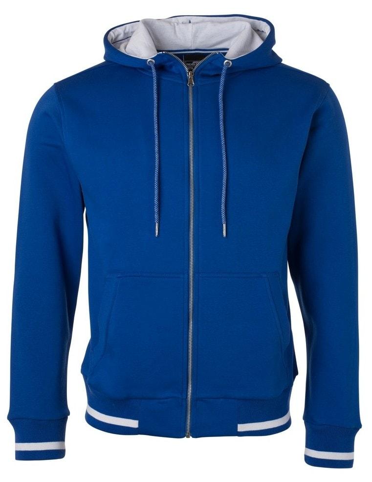 Pánská mikina na zip s kapucí Club JN776 - Královská modrá / bílá   S