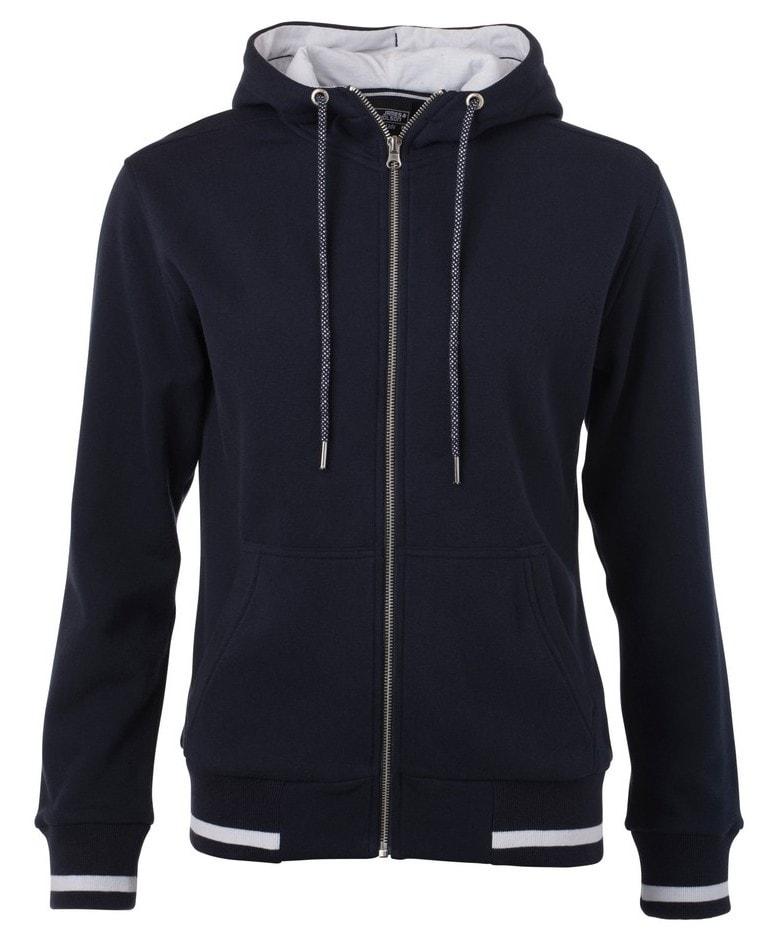 Dámská mikina na zip s kapucí Club JN775 - Tmavě modrá / bílá | S