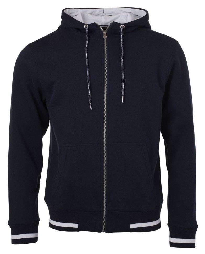Pánská mikina na zip s kapucí Club JN776 - Tmavě modrá / bílá   S