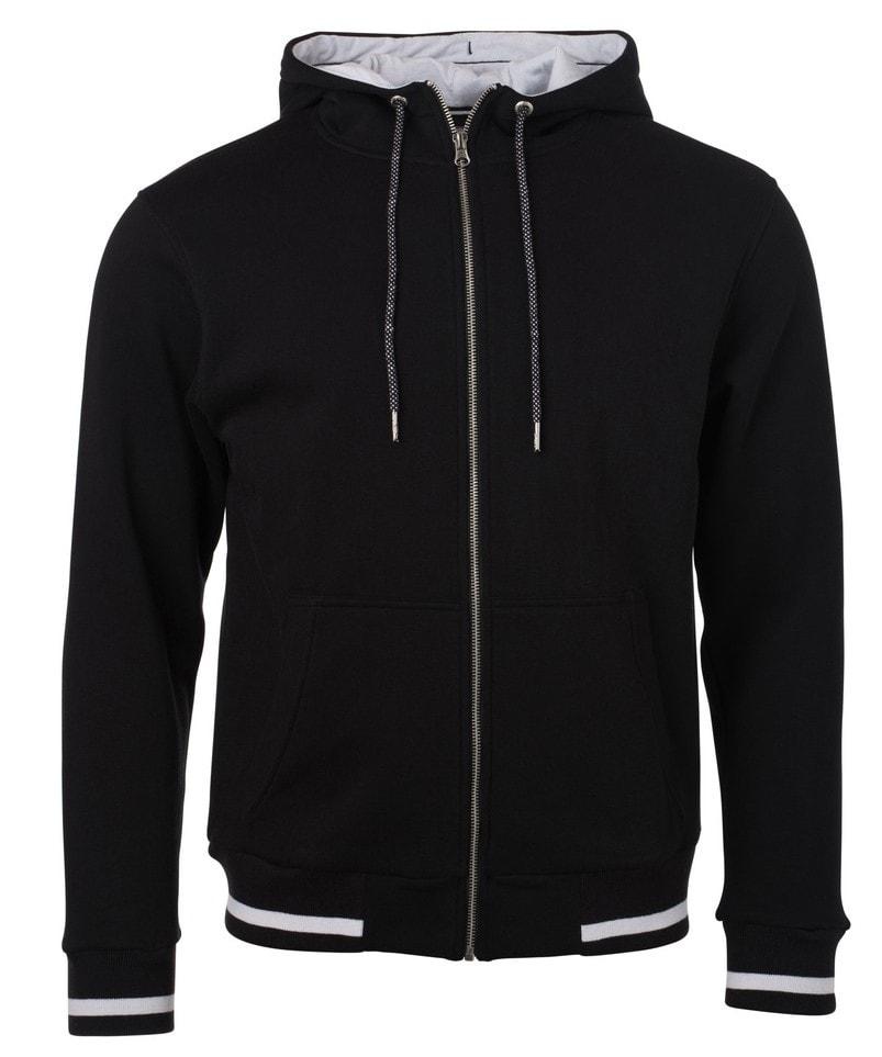 Pánská mikina na zip s kapucí Club JN776 - Černá / bílá   S