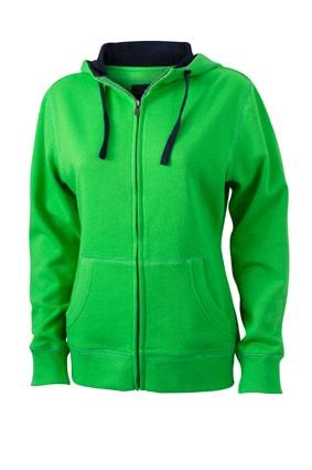 Dámská mikina na zip s kapucí JN962 - Zelená / tmavě modrá   XXL