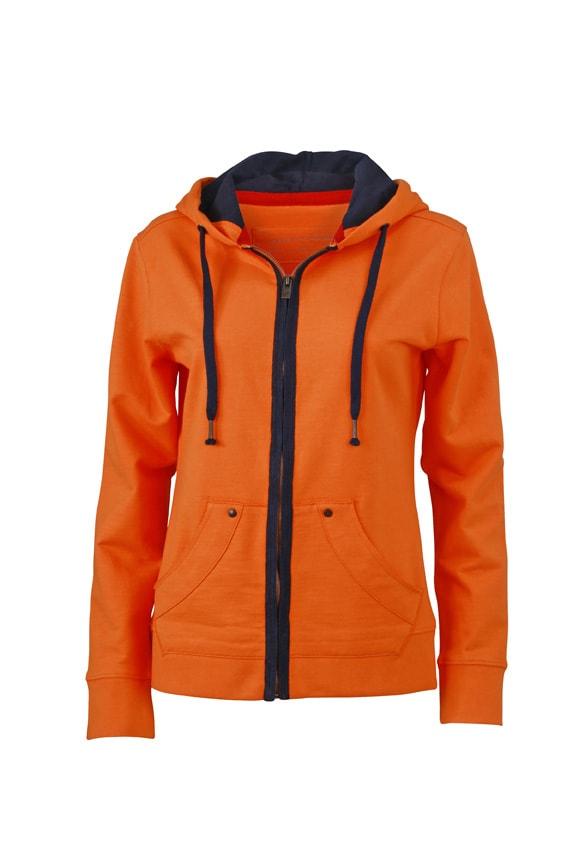 Dámská mikina na zip Urban JN981 - Oranžová / tmavě modrá | S
