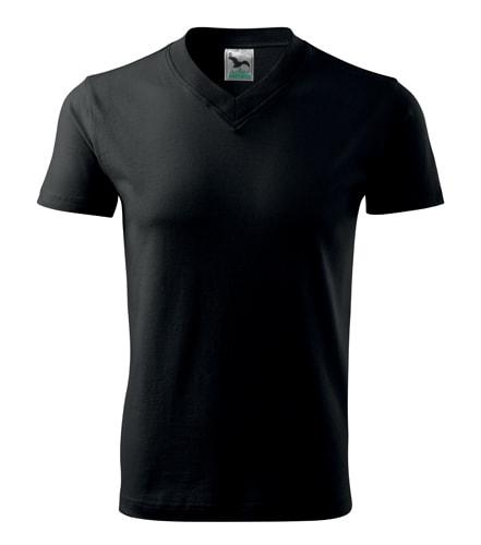 Tričko V-neck - Černá | M