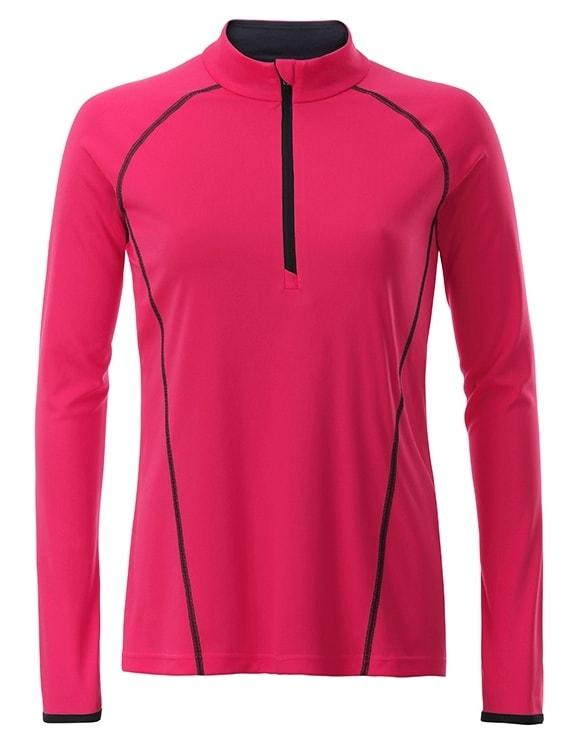 Dámské funkční tričko s dlouhým rukávem JN497 - Jasně růžová / titanová | S