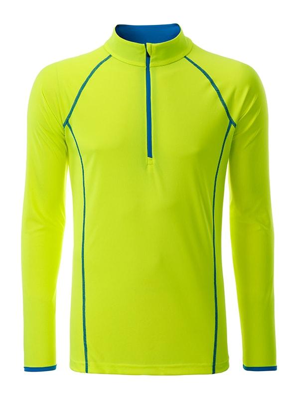 Pánské funkční tričko s dlouhým rukávem JN498 - Jasně žlutá / jasně modrá | L