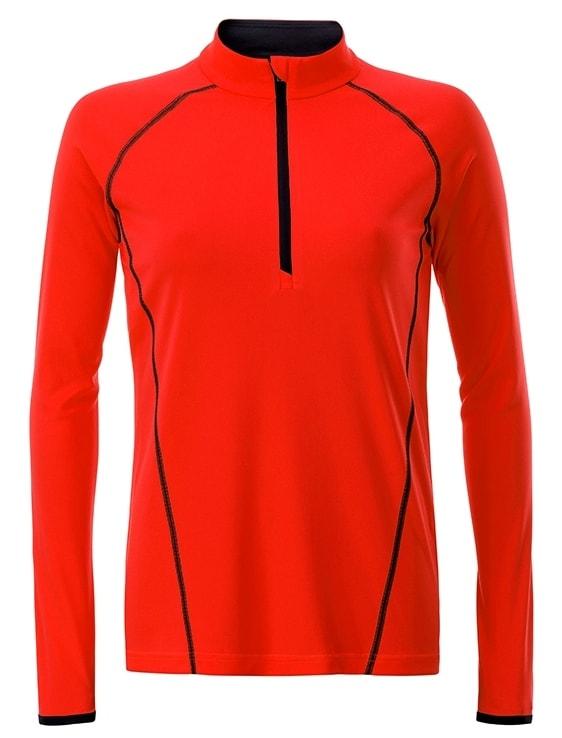 Dámské funkční tričko s dlouhým rukávem JN497 - Jasně oranžová / černá   XL
