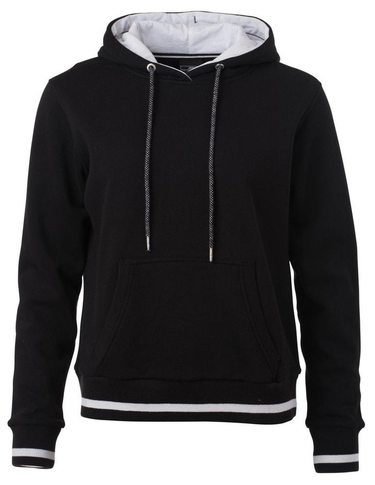 Dámská mikina s kapucí Club JN777 - Černá / bílá | XL