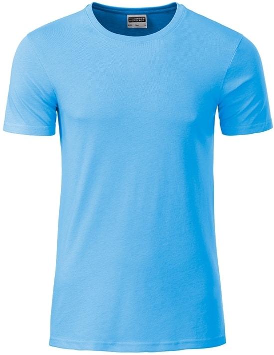 Klasické pánské tričko z biobavlny 8008 - Nebesky modrá | M