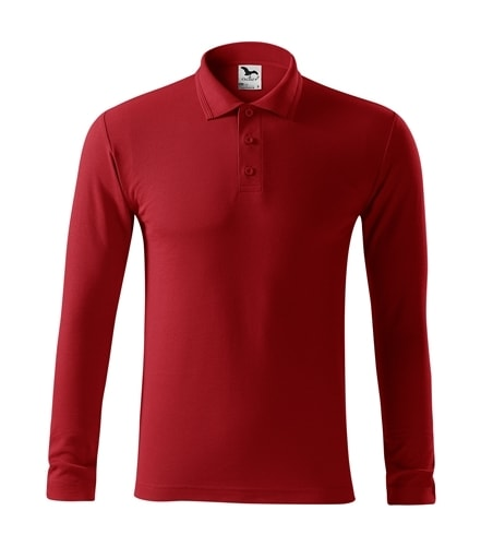 Pánská polokošile s dlouhým rukávem Pique Polo LS - Červená   L