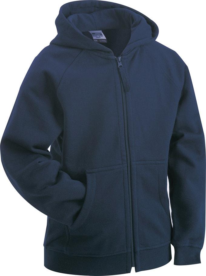 036e8a8818e Dětská mikina na zip s kapucí JN059k - Tmavě modrá