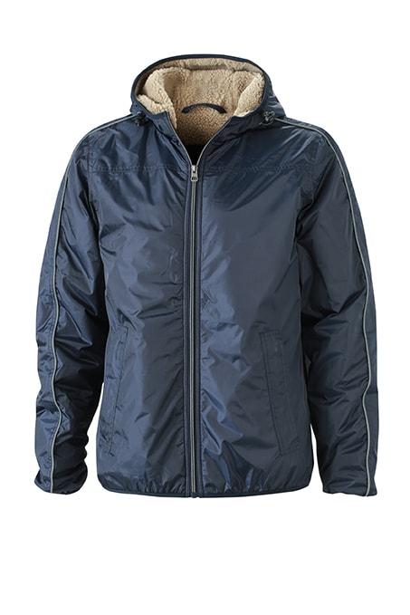 Pánská zimní bunda Beránek JN1104 - Tmavě modrá / camel   S