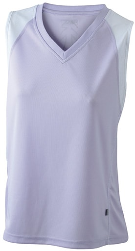 Dámské běžecké tričko bez rukávů JN394 - Šeříková / bílá   L