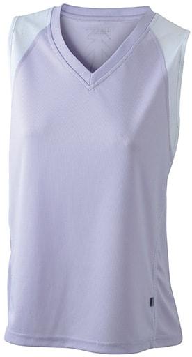 Dámské běžecké tričko bez rukávů JN394 - Šeříková / bílá   XL