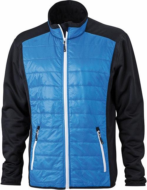 James & Nicholson Pánska športová bunda JN593 - Černá / kobaltová / bílá | XXXL