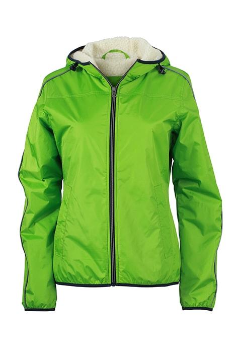 Dámská zimní bunda Beránek JN1103 Jarně zelená / šedo-bílá | L