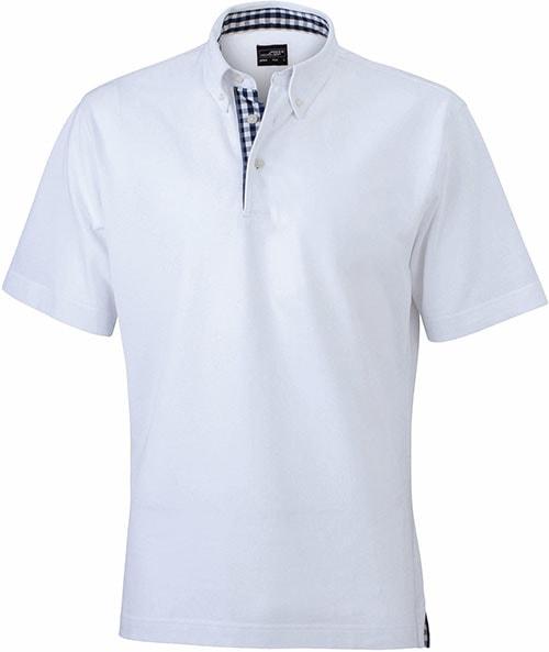 Elegantní pánská polokošile JN964 - Bílá / tmavěmodro-bílá | XXXL