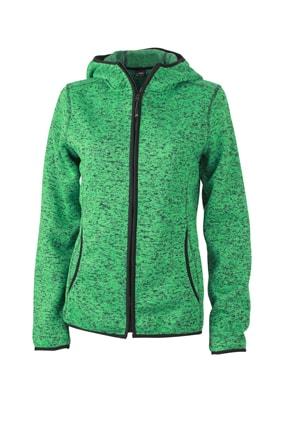 Dámská mikina s kapucí na zip JN588 - Zelený melír / černá | XL
