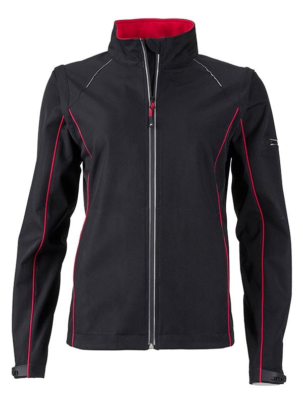 Dámská softshellová bunda 2v1 JN1121 - Černá / červená | XXL