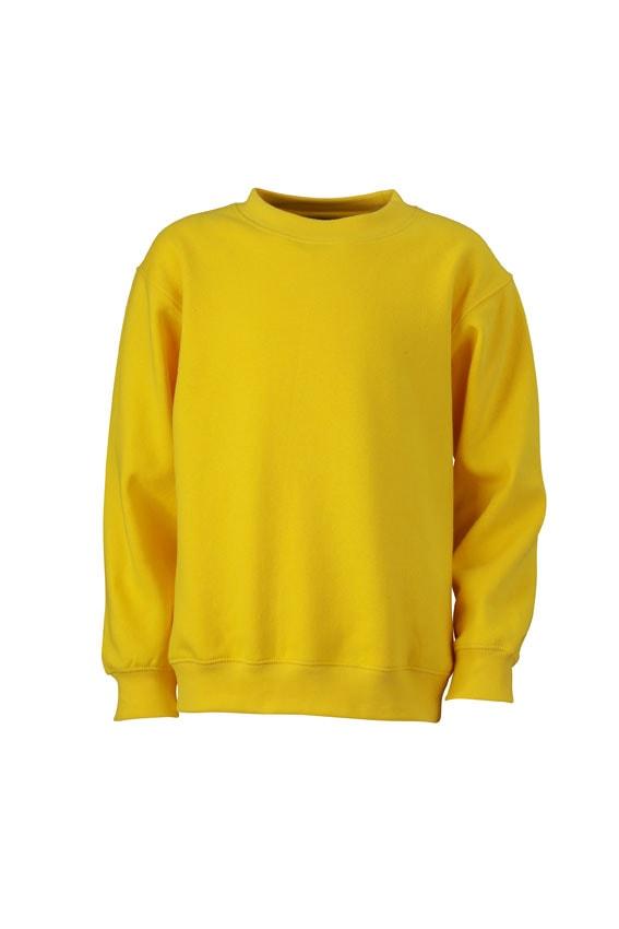Dětská mikina bez kapuce JN040k - Slunečně žlutá | XXL