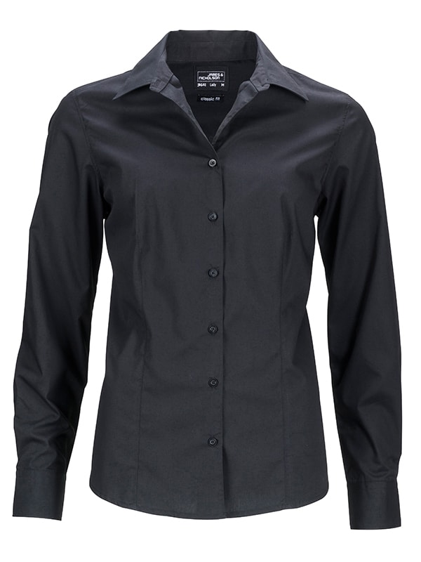 Dámská košile s dlouhým rukávem JN641 - Černá | S