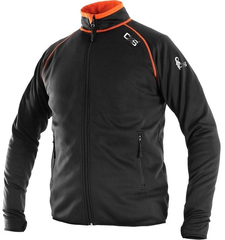 Pánská mikina na zip TORONTO - Černá / oranžová | XL