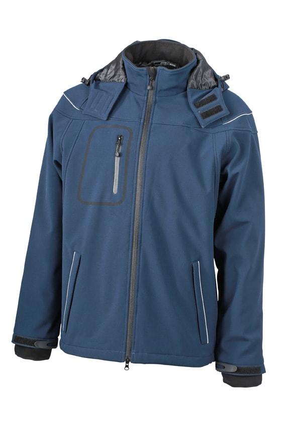 James & Nicholson Zimná pánska softshellová bunda JN1000 - Tmavě modrá   XL