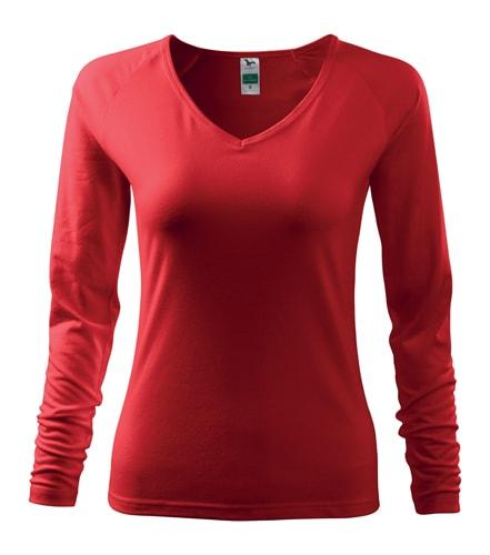 Dámské tričko s dlouhým rukávem - Červená | S