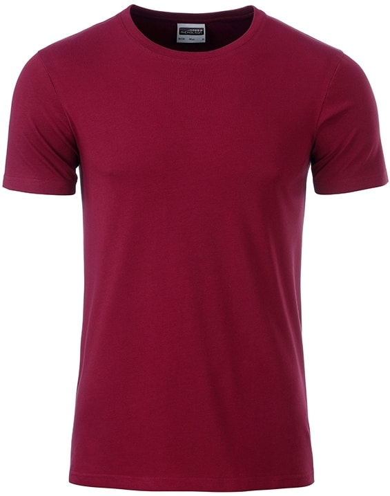 James & Nicholson Klasické pánske tričko z biobavlny 8008 - Vínová | XL