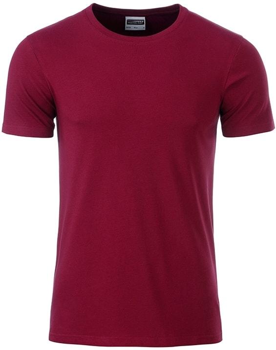 James & Nicholson Klasické pánske tričko z biobavlny 8008 - Vínová | S