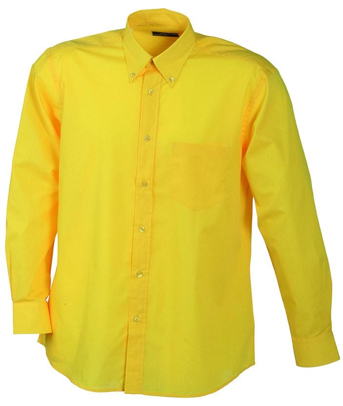 Pánská košile s dlouhým rukávem JN600 - Žlutá | XXXL