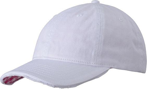 Bavlněná kšiltovka Club MB6568 - Bílá / růžová | uni