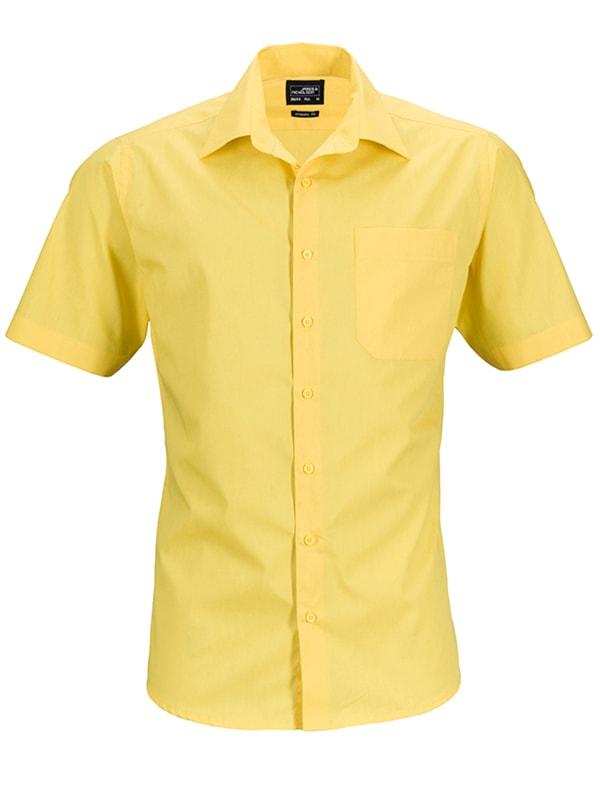 Pánská košile s krátkým rukávem JN644 - Žlutá | XXXL