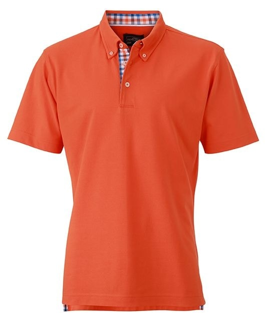 Elegantní pánská polokošile JN964 - Tmavě oranžová / modro /oranžovo / bílá | XXXL