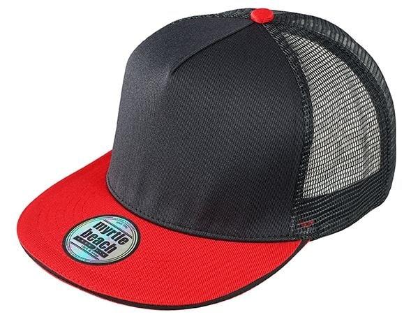 Kšiltovka s rovným kšiltem MB6636 - Černá / červená