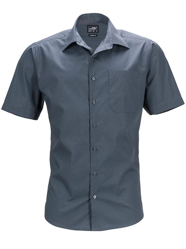 Pánská košile s krátkým rukávem JN644 - Tmavě šedá | XL