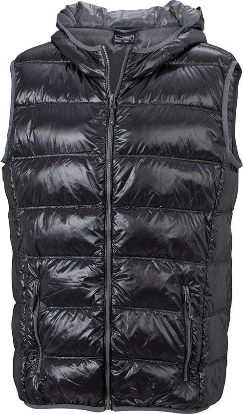Lehká pánská péřová vesta JN1062 - Černá / šedá | XXL