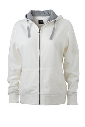 Dámská mikina na zip s kapucí JN962 - Šedo-bílá / šedá | XL