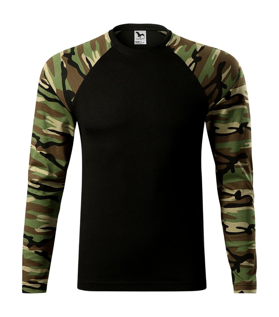 Maskáčové tričko s dlouhým rukávem - Maskáčová hnědá | XS