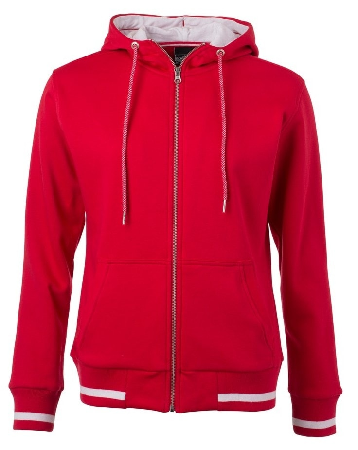 Dámská mikina na zip s kapucí Club JN775 - Červená / bílá | XL