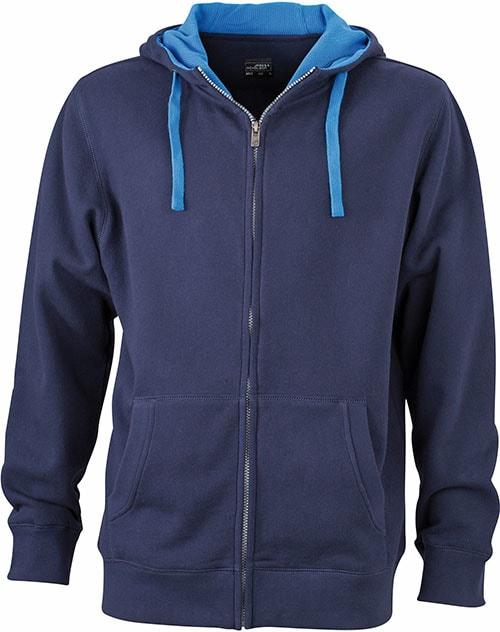 Pánská mikina na zip s kapucí JN963 - Tmavě modrá / cobalt | XXXL