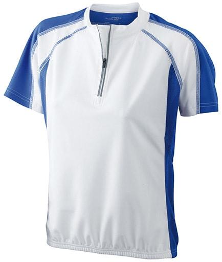 Dámské cyklistické tričko JN419 - Bílá / královská modrá | M