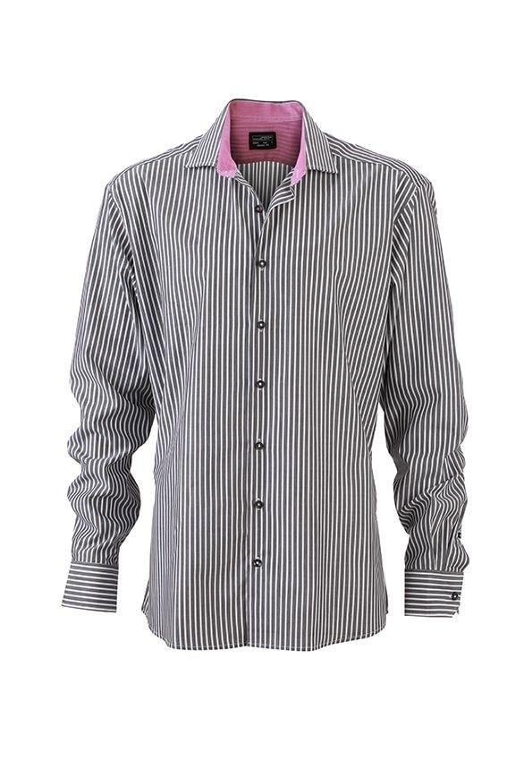 Pánská pruhovaná košile JN632 - Grafitová / bílá / fialová | M