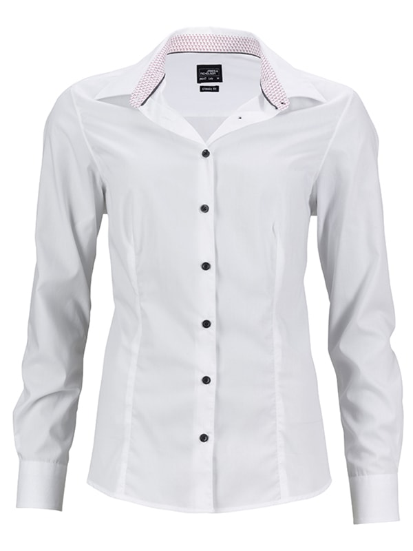 Dámská bílá košile JN647 - Bílo-červená | XL