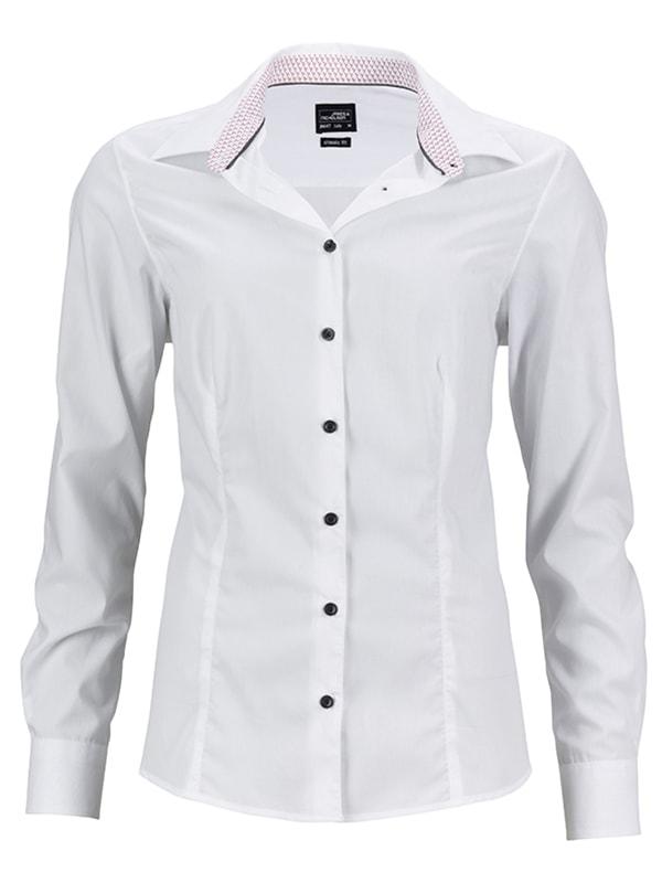 Dámská bílá košile JN647 - Bílo-červená | XXL