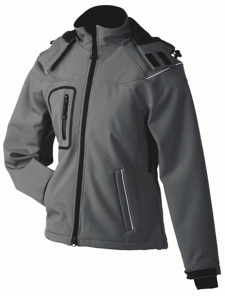 James & Nicholson Zimná dámska softshellová bunda JN1001 - Tmavě šedá   S