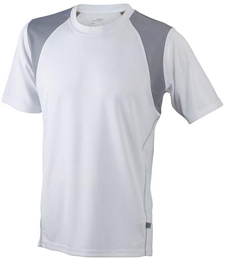 Dětské sportovní tričko s krátkým rukávem JN397k - Bílá / stříbrná | L